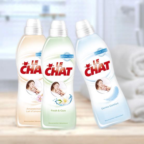 Het gamma Le Chat wasverzachter : Amandelmelk, Fresh & Care en Dermo Comfort voor gevoelige huiden