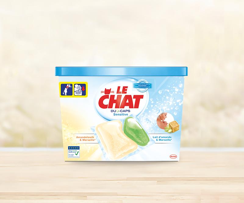 Le Chat Duo-Caps Sensitive, wasmiddel met de geur van Marseille-zeep